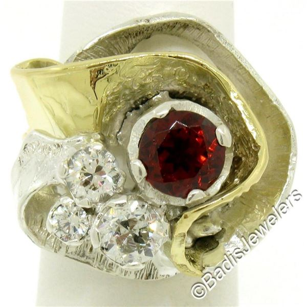 18kt Yellow Gold and Sterling Silver 2.73 ctw Garnet and Diamond Cocktail Ring
