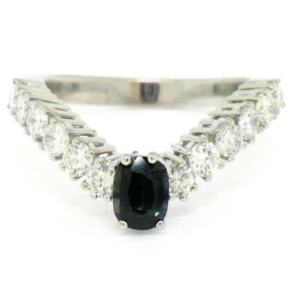 18k White Gold 1.64 ctw Oval Sapphire Solitaire Round Diamond Chevron V Band Rin