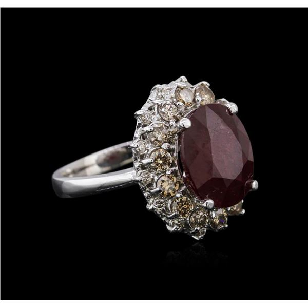 14KT White Gold 6.16 ctw Ruby and Diamond Ring
