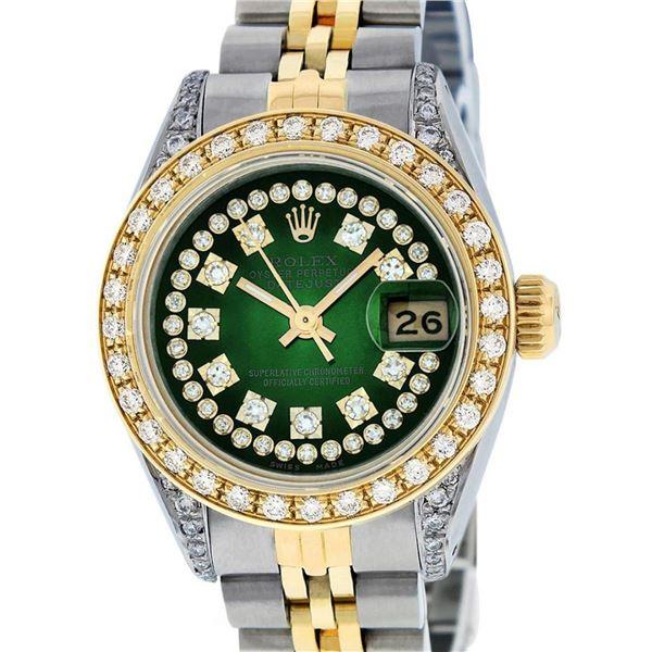 Rolex Ladies 2 Tone Green Vignette Diamond Lugs 26MM Oyster Perpetual Datejust