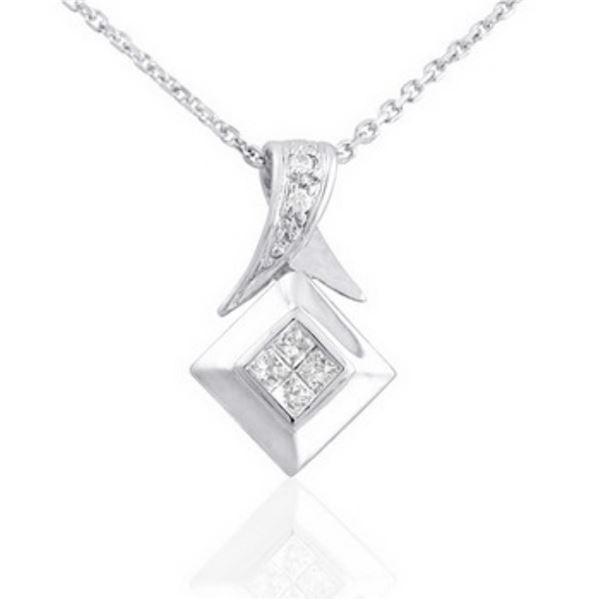 14k White Gold 0.18CTW Diamond Pendant, (H)