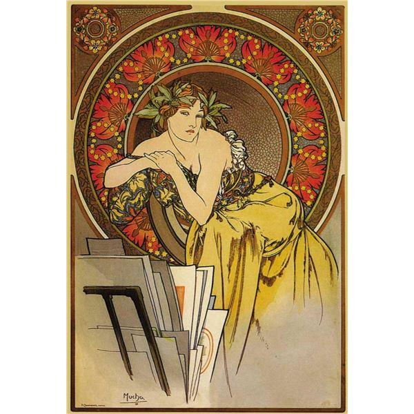 Alphonse Mucha - Girl With Easel