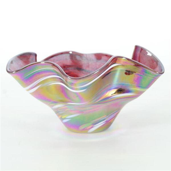 Mini Wave Bowl (Red Rainbow Twist) by Glass Eye Studio
