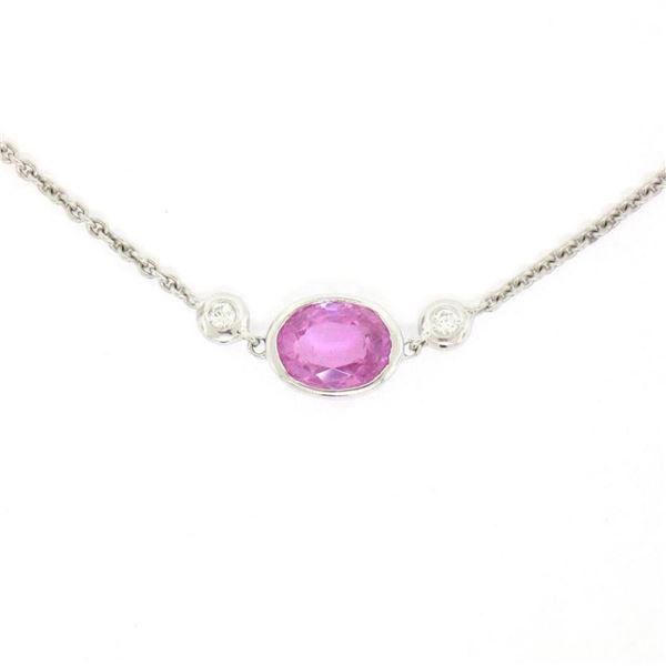 "18K White Gold 16"" 1.37 ctw GIA Pink Sapphire & Diamond Pendant Necklace"