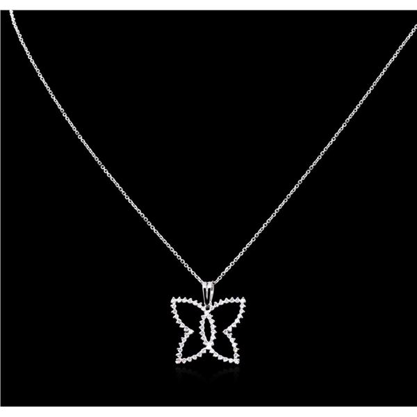 0.60 ctw Diamond Pendant With Chain - 14KT White Gold