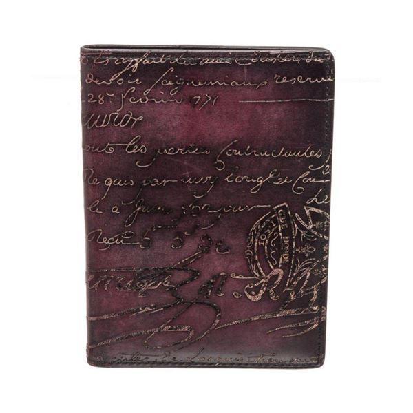 Berluti Burgundy Leather Passport Case