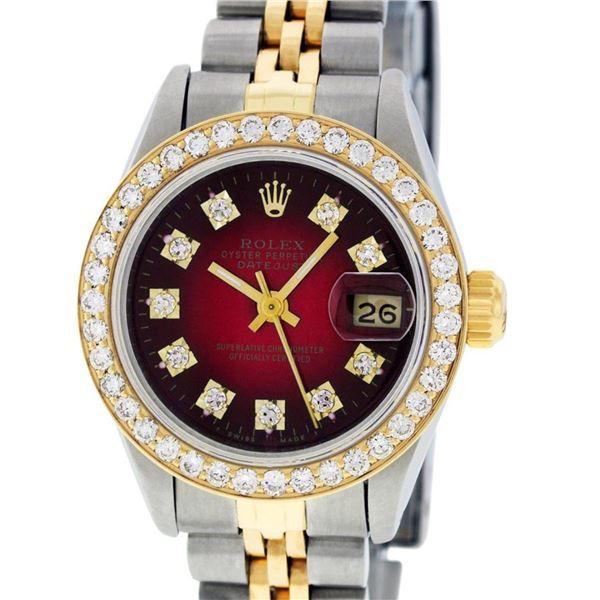 Rolex Ladies 2 Tone Red Vignette VS Diamond Oyster Perpetual Datejust 26MM