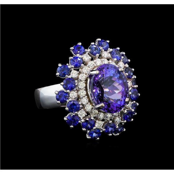 14KT White Gold 4.93 ctw Tanzanite, Sapphire and Diamond Ring