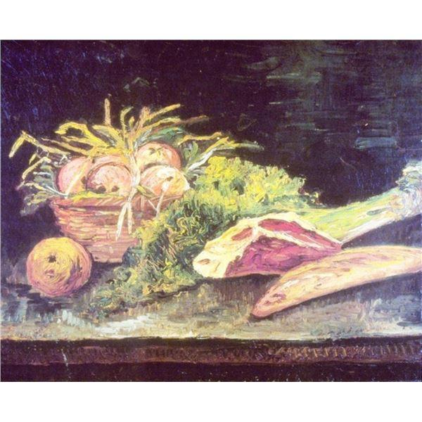 Van Gogh - Still Life, Apple Basket, Meat and Bread Rolls