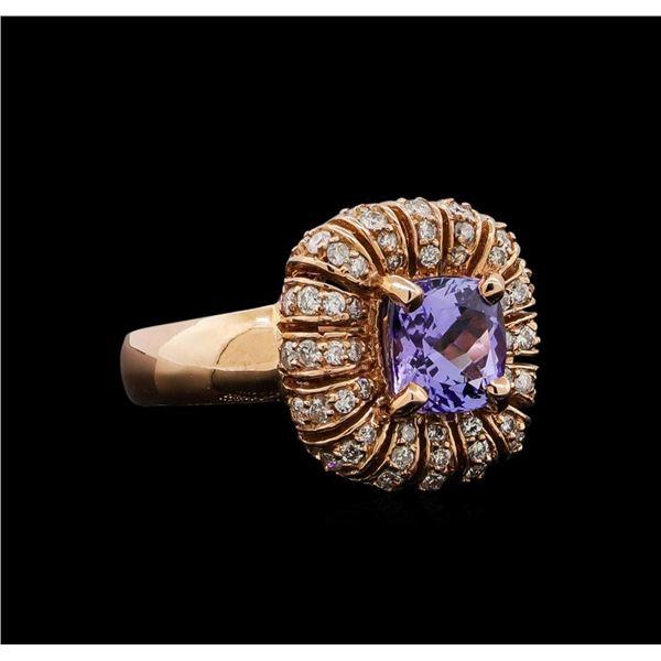 14KT Rose Gold 1.68 ctw Tanzanite and Diamond Ring