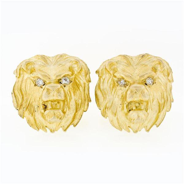 Vintage 14k Yellow Gold Large Detailed Diamond Eye Lion Head Swivel Cufflinks