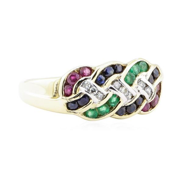 1.38 ctw Multi-colored Gemstone Ring - 14KT Yellow Gold