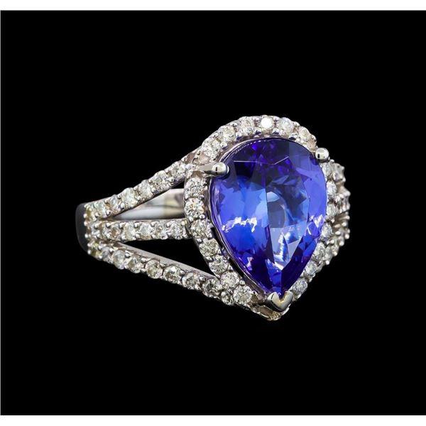 18KT White Gold 3.44 ctw Tanzanite and Diamond Ring