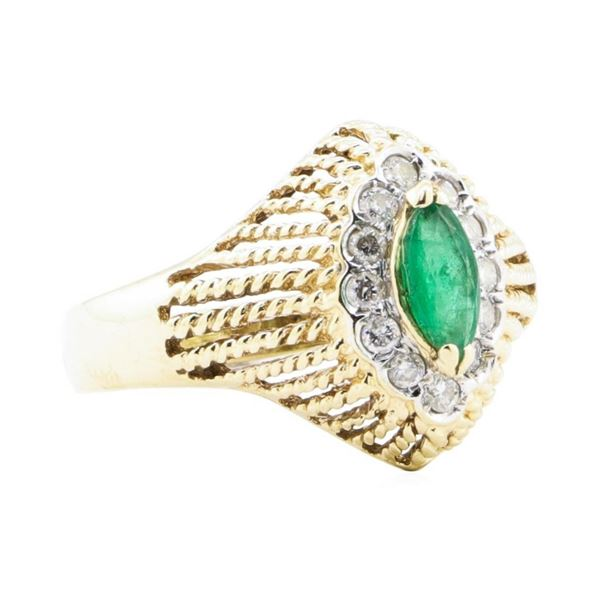 0.65 ctw Emerald And Diamond Ring - 14KT Yellow And White Gold