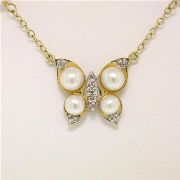 14K Yellow Gold Pearl & Diamond Butterfly Pendant Necklace w/ Pearl By the Yard