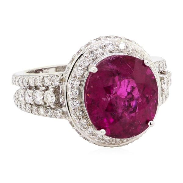 7.49 ctw Oval Mixed Rubellite And Round Brilliant Cut Diamond Ring - 18KT White