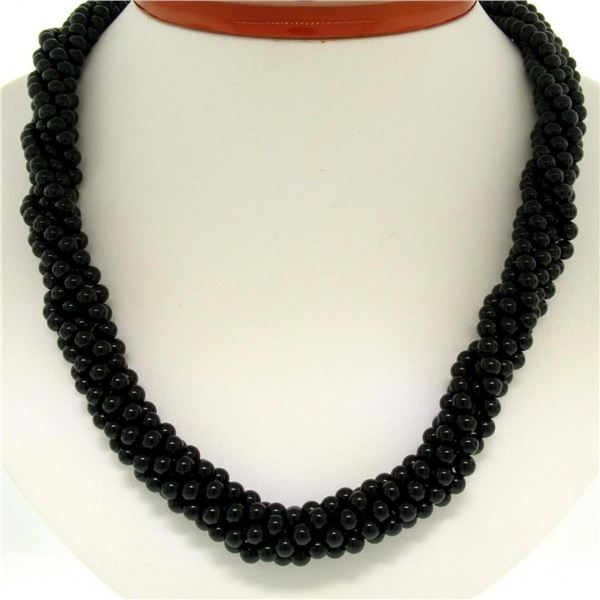 14k Gold Long Multi Strand Black Onyx Necklace w/ Freshwater Pearl & Coral Bead