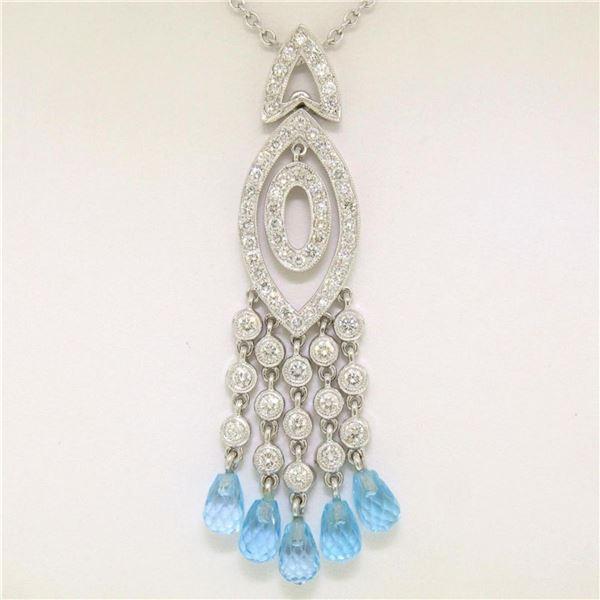 18k White Gold 1.30 ctw Diamond & Blue Topaz Briolette Chandelier Dangle Necklac