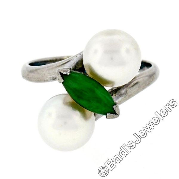 Vintage 14kt White Gold 8.35mm Round Pearl Marquise Cut Jade Bypass Ring