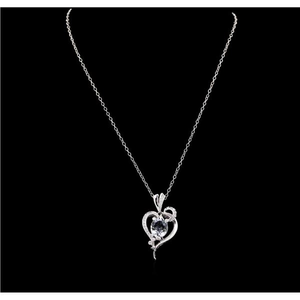 3.52 ctw Aquamarine and Diamond Pendant With Chain - 14KT White Gold