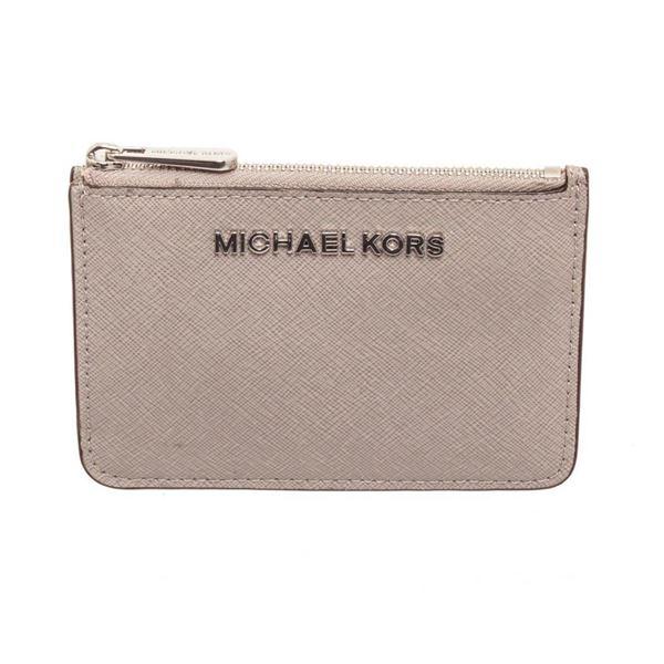 Michael Kors Grey Leather Jet Set Small Keychain Wallet
