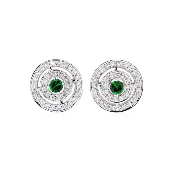 1.73 ctw Round Brilliant Tsavorite Garnets And Round Brilliant Cut Diamond Earri