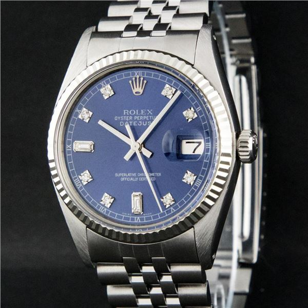 Rolex Mens Stainless Blue Diamond 36MM Oyster Perpetual Datejust Wristwatch