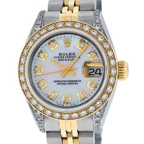 Rolex Ladies 2 Tone Quickset 18K MOP Diamond Lugs Datejust 26MM Wristwatch
