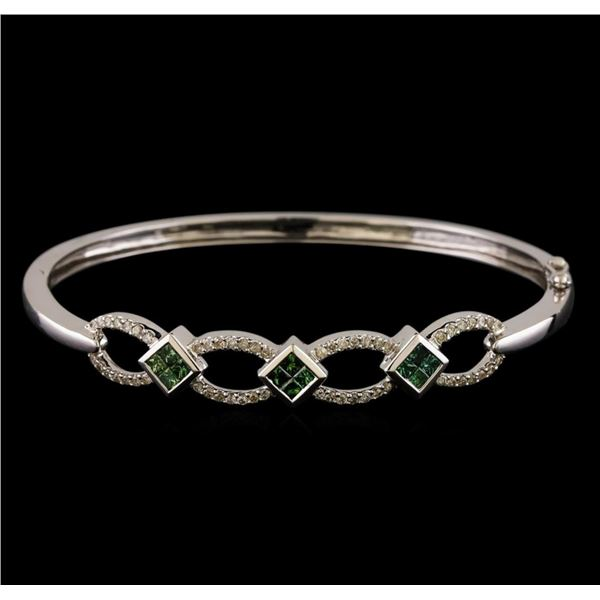 1.09 ctw Diamond Bangle Bracelet - 14KT White Gold