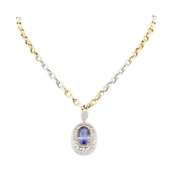 14.17 ctw Tanzanite and Diamond Pendant With Chain - 14KT White Gold