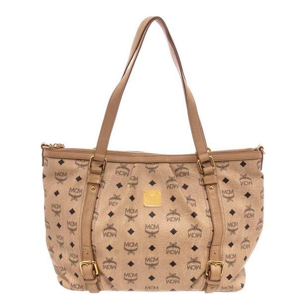 MCM Ivory Canvas Shoulder Bag
