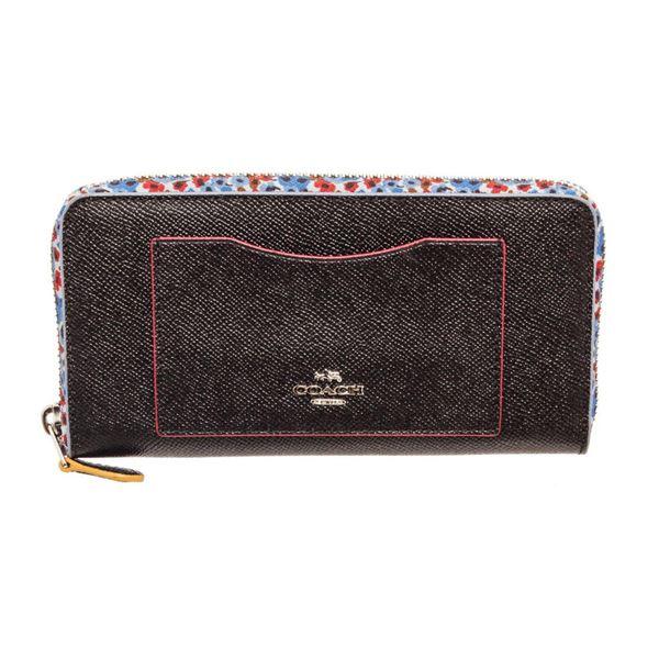 Coach Blue Leather Floral Print Long Zippy Wallet