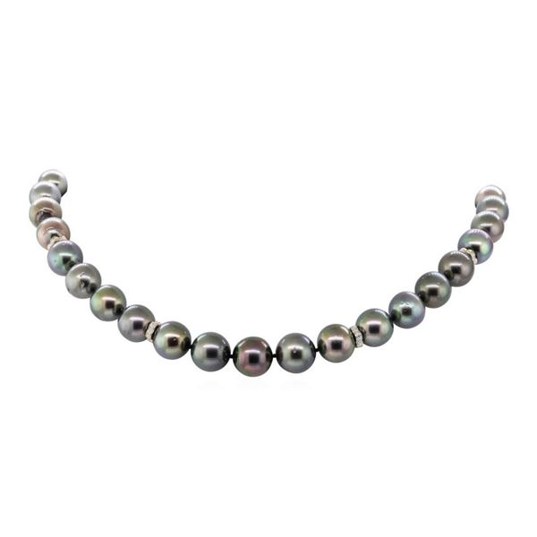 0.50 ctw Diamond and Tahitian Pearl Necklace - 14KT Yellow Gold