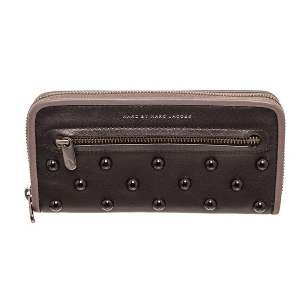 Marc By Marc Jacobs Black Leather Luna Studded Zippy Wallet