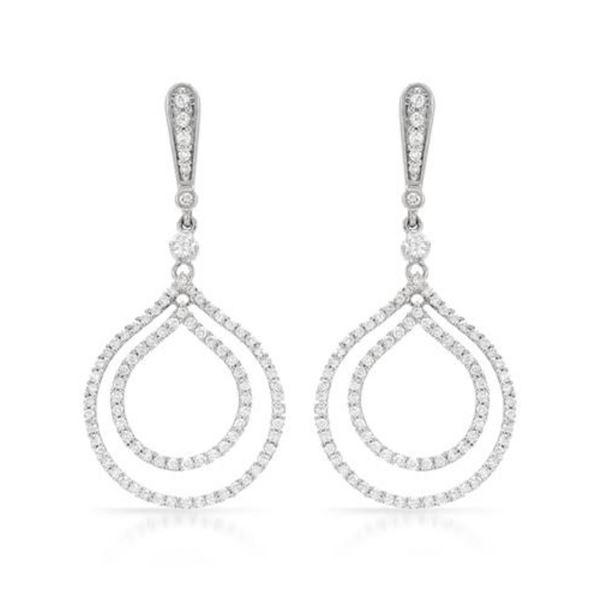14k White Gold 1.23CTW Diamond Earrings, (SI3/G)