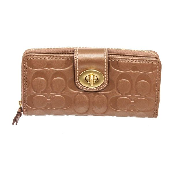 Coach Brown Embossed Leather Turnlock Zippy Wallet