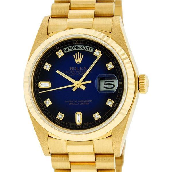 Rolex Mens 18K Yellow Gold Blue Vignette Diamond Quickset President Wristwatch W