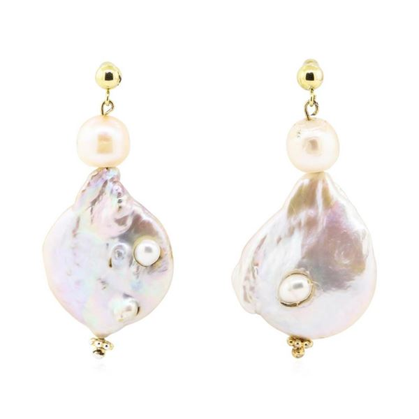 Baroque Coin Pearl Earring - 14KT Yellow Gold Plated