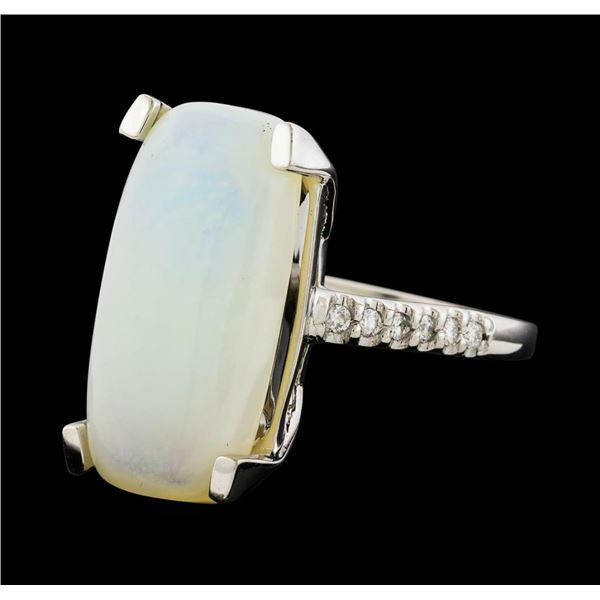 7.50 ctw Opal and Diamond Ring - 14KT White Gold