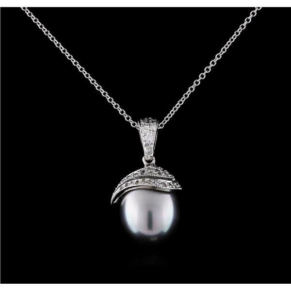 0.33 ctw Pearl and Diamond Pendant With Chain - 14KT White Gold