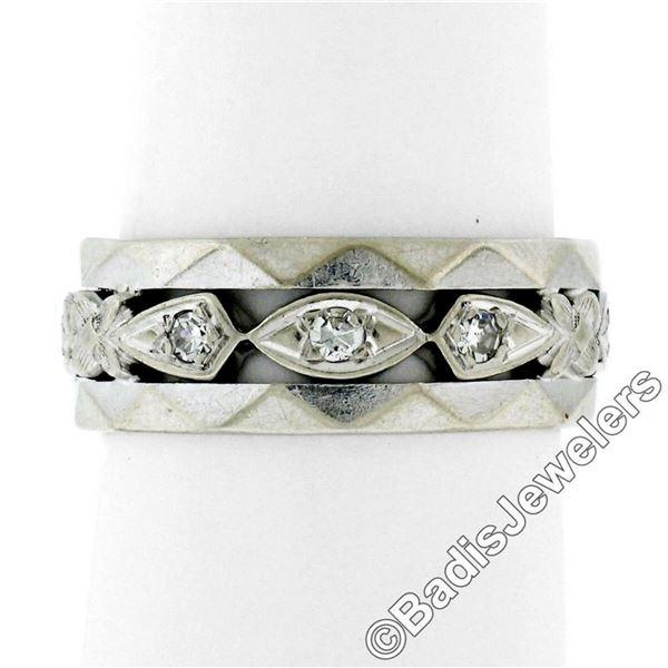 Antique 14kt White Gold 0.20 ctw Diamond 7mm Eternity Band Ring