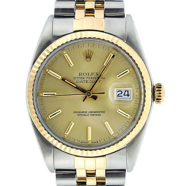 Rolex Mens 2 Tone Champagne Index 36MM Oyster Perpetual Datejust Wristwatch