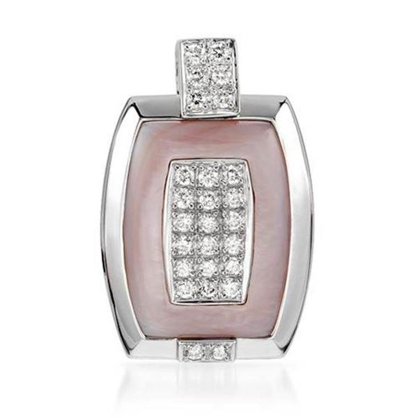 18k White Gold 0.57CTW Mother Of Pearl and Diamond Pendant, (SI1-SI2/Pink/G-H)