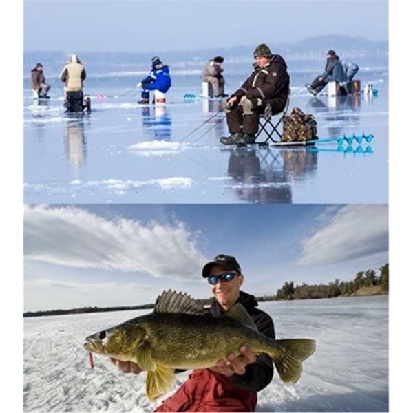 Walleye Icefishing in the Ice Ridge Reaper in Manitoba, Canada
