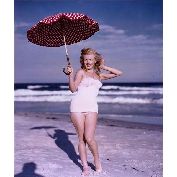 ANDRE DE DIENES (1913-1985): MARILYN MONROE with Polka dot umbrella, Tobay Beach, 1949