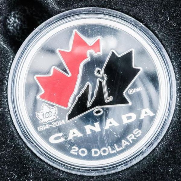 RCM 2014 '100th Anniversary of Hockey Canada'  1914-2014 .999 Fine Silver $20.00 Proof Coin  over 1o