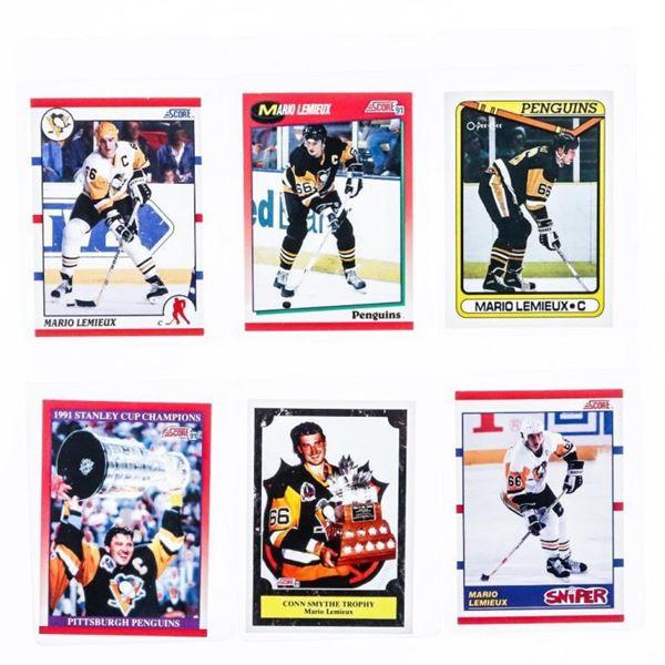 Group of (6) Mario Lemieux Cards:  1989-1990-1991