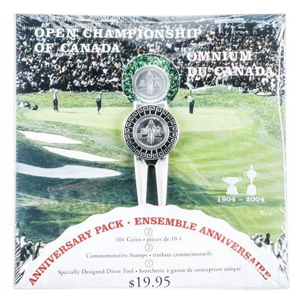 1904-2004 Anniversary Pack Golf Pivot Tool 2x  Commemerative Stamps Special 10 Cent Coin  Canada Pos
