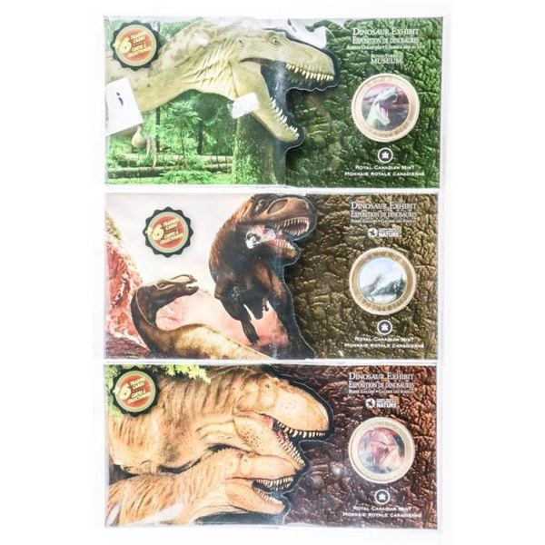 Group of (3) Dinosaur Exhibits RCM 2010, 50  Cent Coins with (6) Trading Cards in each  SOLD OUT