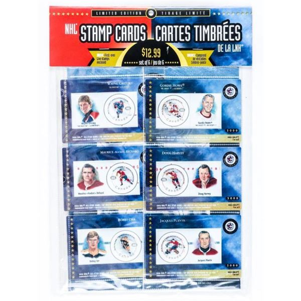 NHL Stamp Cards, LE First Ever, Live Stamps.  Set of (6) - Series 1 Issue. Year 2000